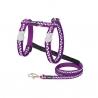 Ensemble harnais et laisse Red Dingo Chats Fantaisie violet pois blanc
